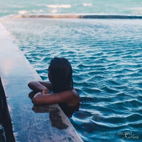woman in pool limestone pool coping