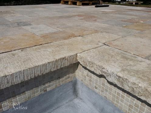 Antique limestone pool coping stone slabs