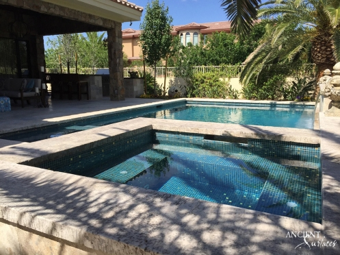 Limestone antique pool coping french farmhouse