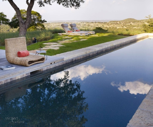 Antique limestone pool fountain