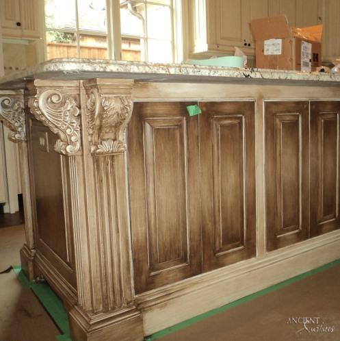 farmhouse-kitchen-island-weathered-rustic-legs-