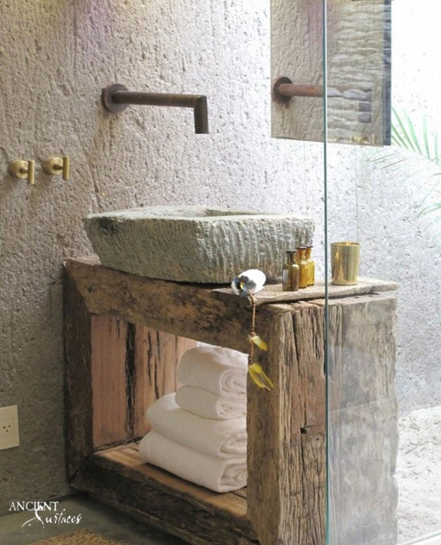 Fully carved limestone sink